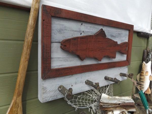 4 Hook Coat Rack. Fish Wall Wood
