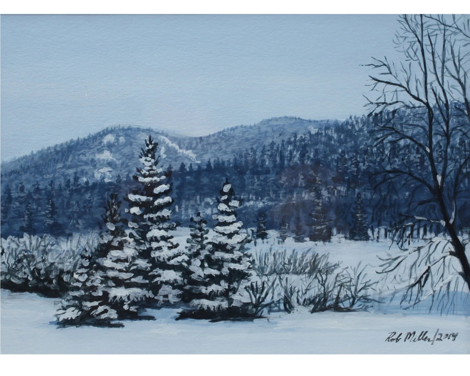 Winter Painting Mountain Painting Acrylic Painting Snowy