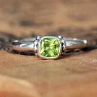Peridot promise ring peridot ring silver August birthstone