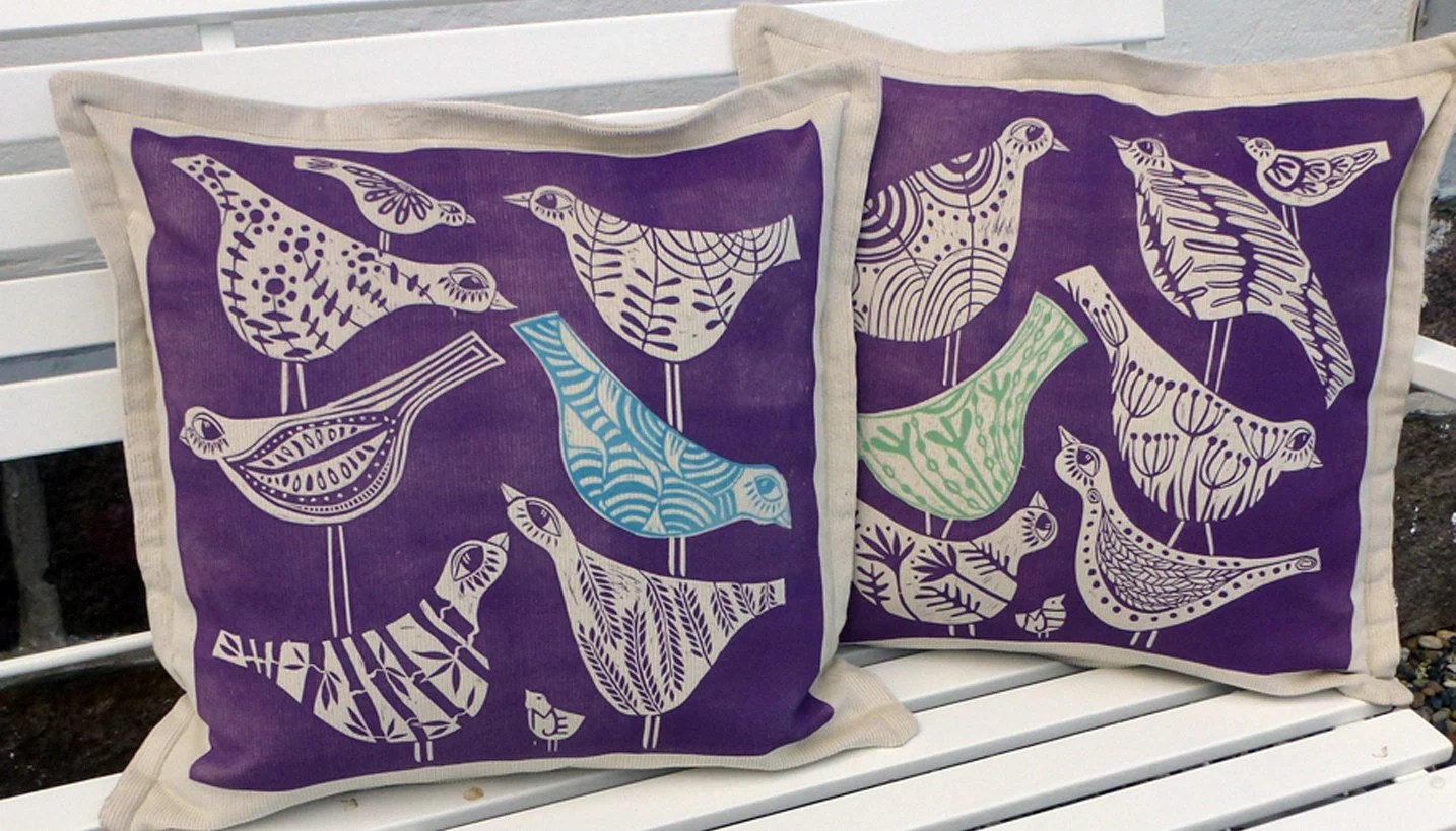 Cushion Cover Set Of 2 Purple Song Birds Green Turquoise