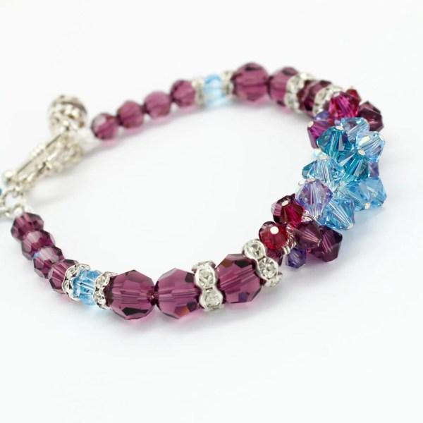 Purple Bracelet Swarovski Crystals Colorful Violet