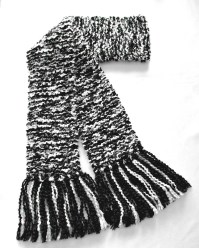 Black and White Scarf Long Chunky Knit Scarf by ...