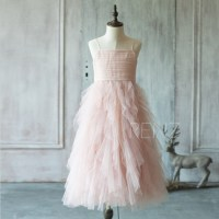2017 Junior Bridesmaid Dress Blush Pink Flower Girl Dress