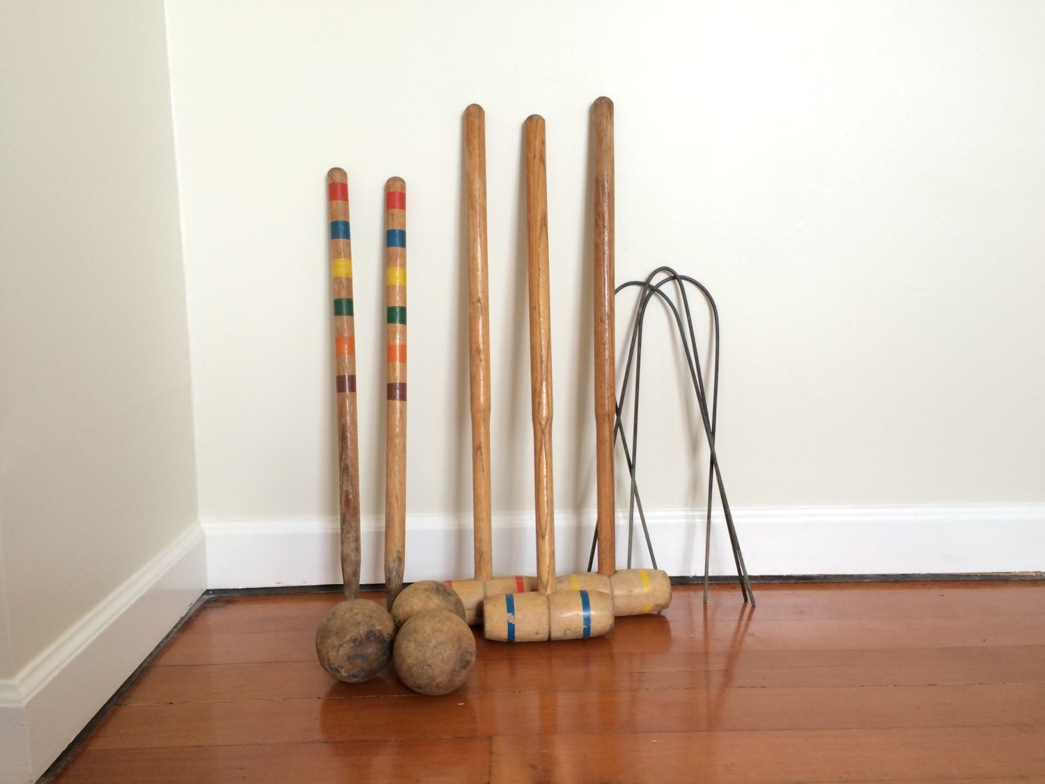 Vintage Wooden Croquet Set For Mid Century Garden Party