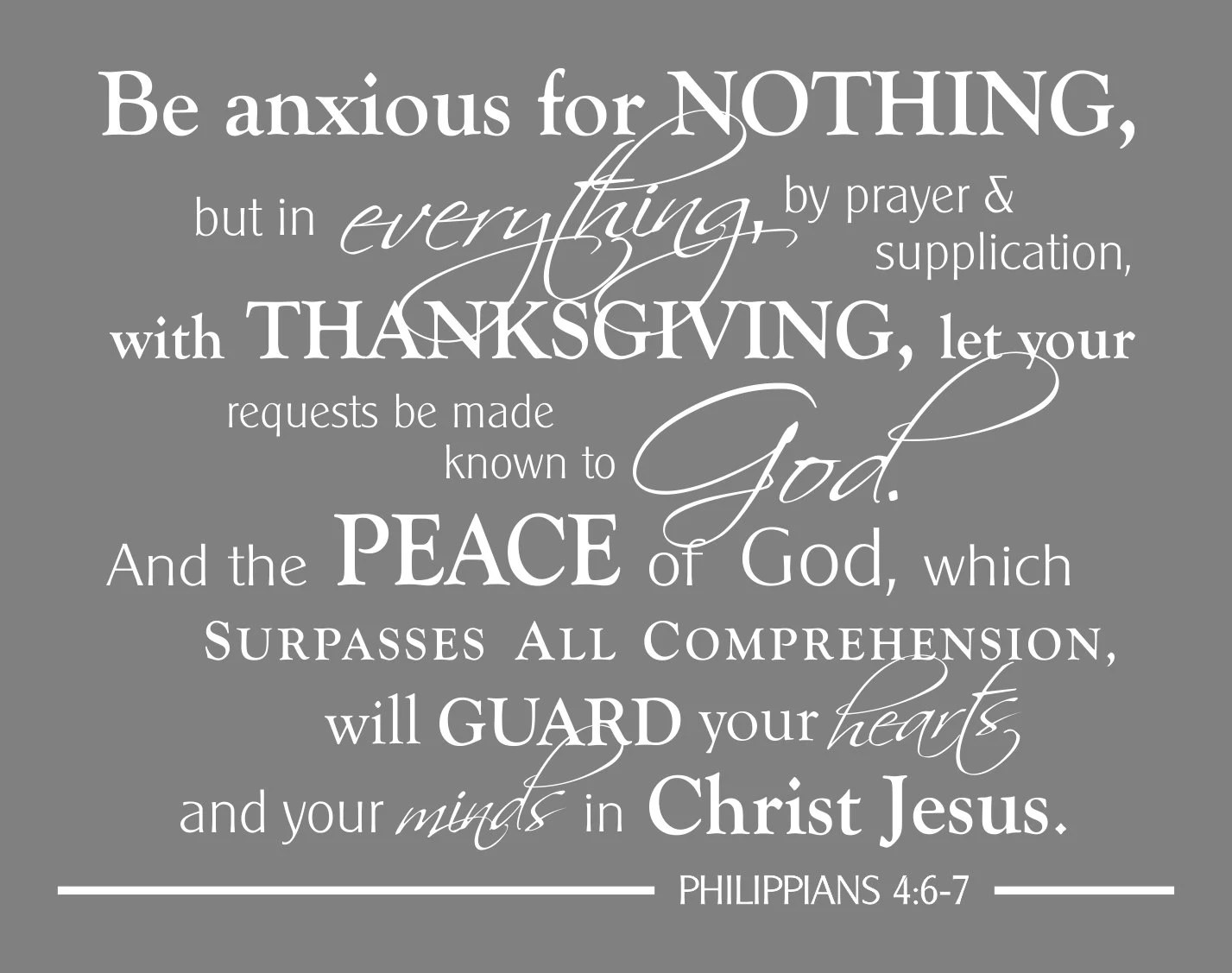 Philippians 4 6 7 Scripture Wall Art Print Be Anxious for