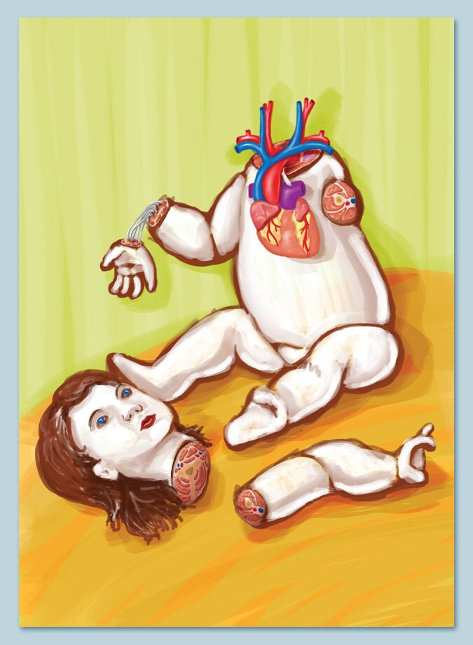 Anatomy Baby Doll Archival Print of Original Illustration