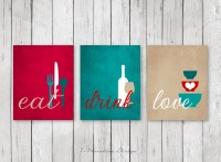 Kitchen Wall Art Print Set Eat Drink Love Red Teal Tan