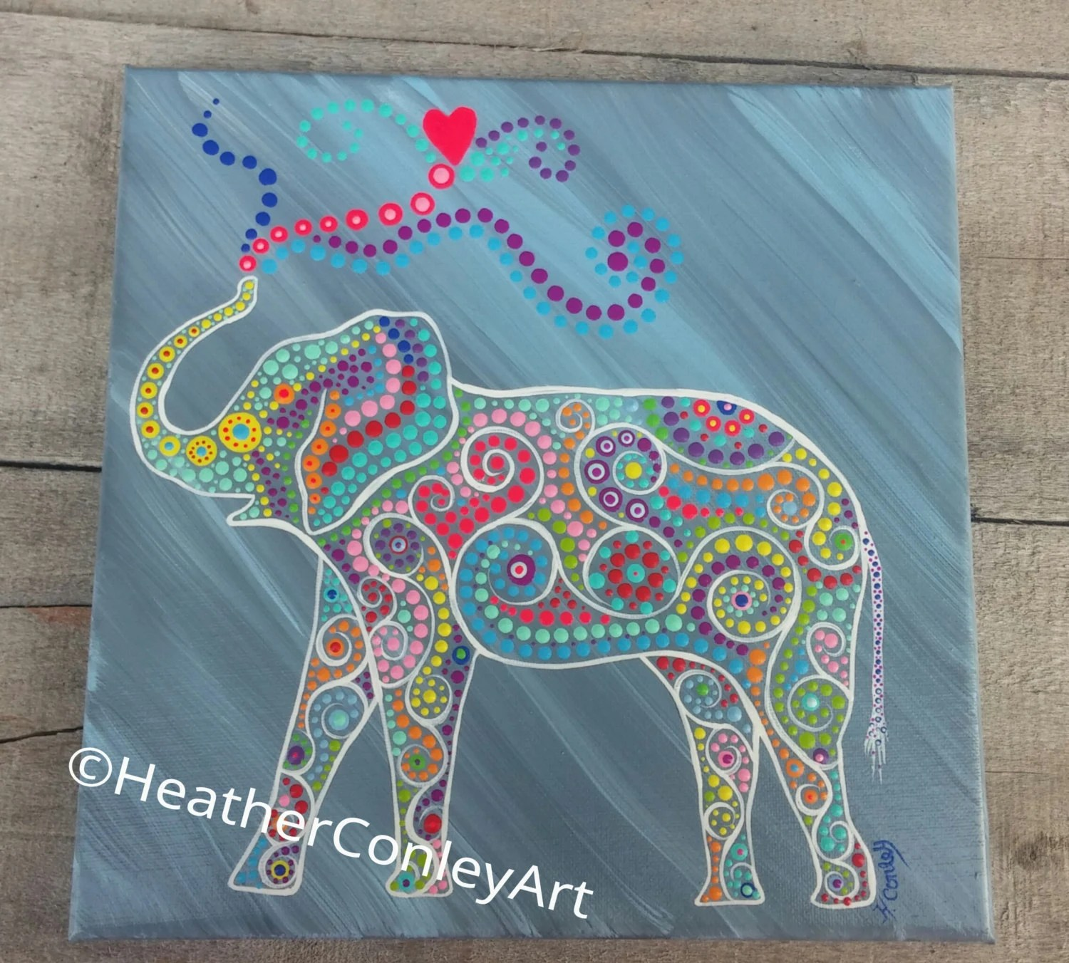 Colorful elephant painting on 10x10 canvas dot painting with