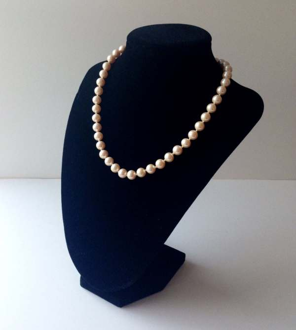 Monet Pearl Necklace Ivory Colored Hand Tied Faux Pearls
