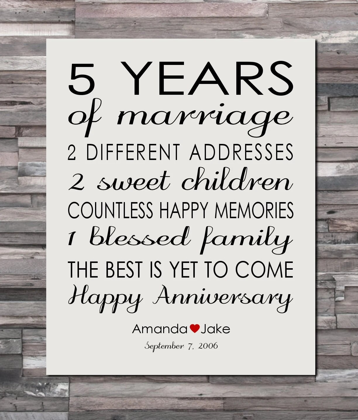 Anniversary Gift Print 5 Year Wedding 5th Anniversary