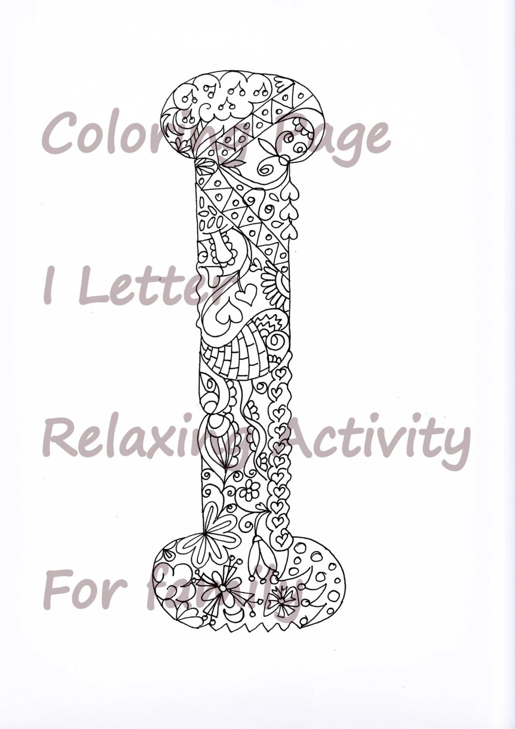 Letter I Colouring Page, Zentangle Art Inspired, Adults