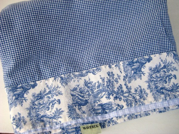 Vintage Cotton Blue Gingham And Country Life Toile Border