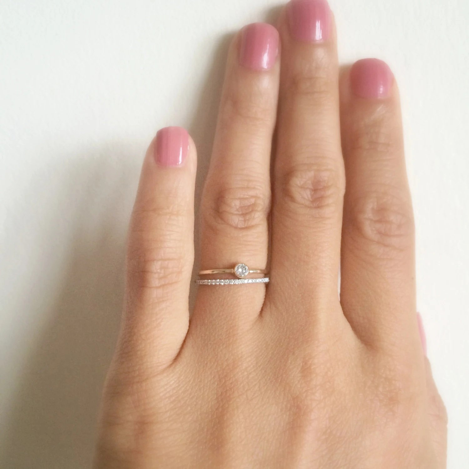 Dainty Engagement Ring 10 CT SOLID 14k gold Dainty Diamond