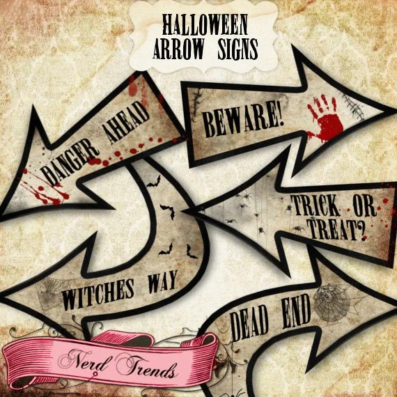 Halloween Party Signs Haunted House Arrow Signs Halloween