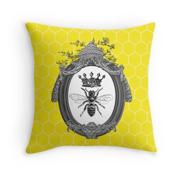 Queen Bee Throw Pillow Cushion Honeybees Honey Bees