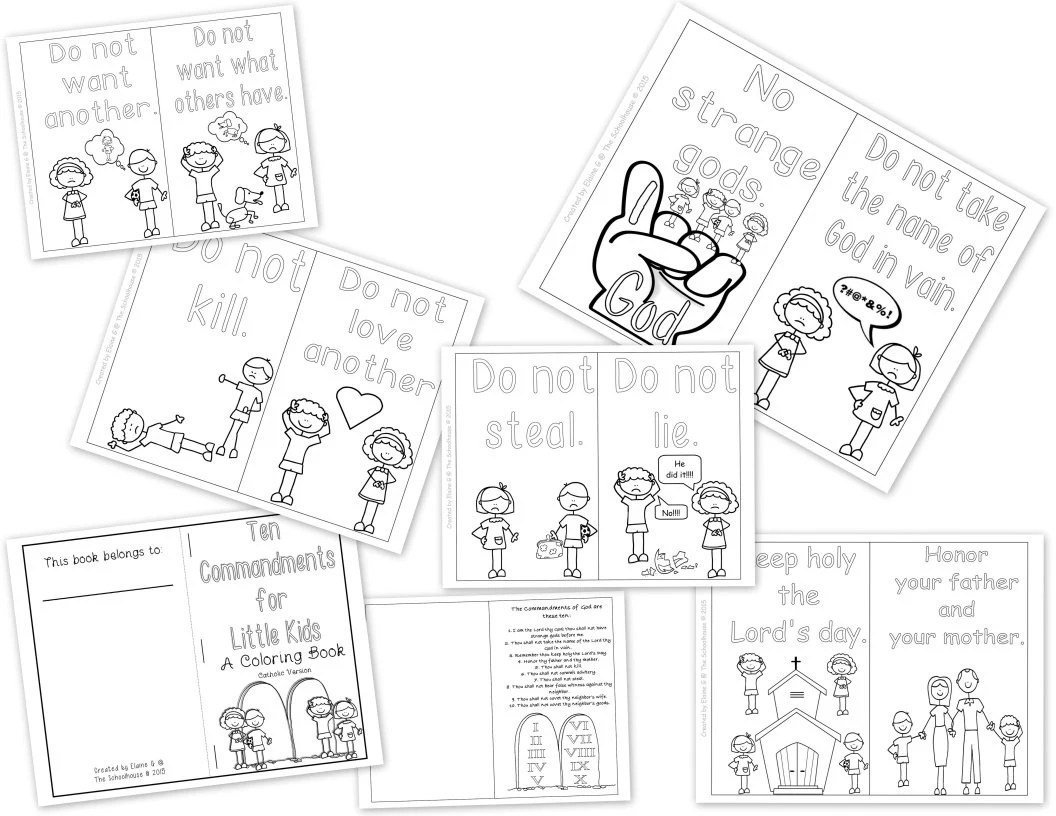 Ten Commandments for Kids Coloring Booklets by