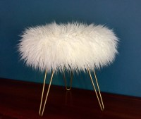 Grey Faux Fur Stool.Custom Mongolian Faux Fur WHITE Stool ...