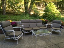 1950 Vintage Wrought Iron Patio Furniture With Leaf