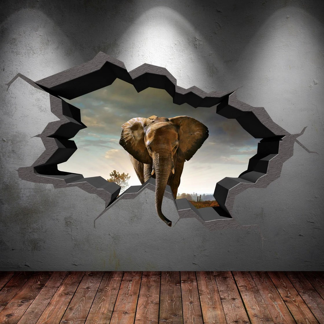 Create 3d Name Wallpaper Online Free Elephant Wall Decal Cracked 3d Wall Sticker Mural Decal