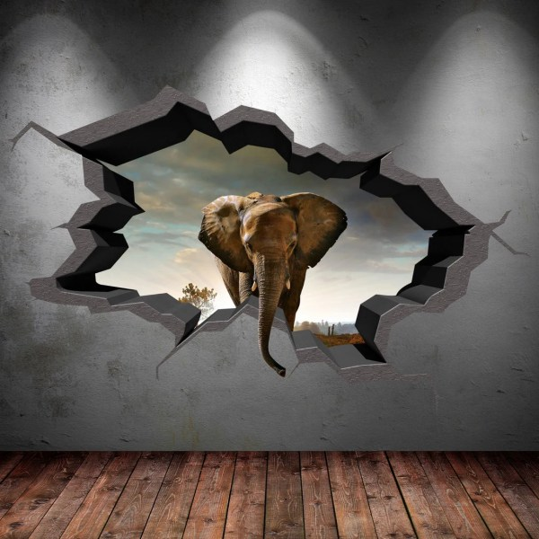 Elephant Wall Decal Cracked 3d Sticker Mural