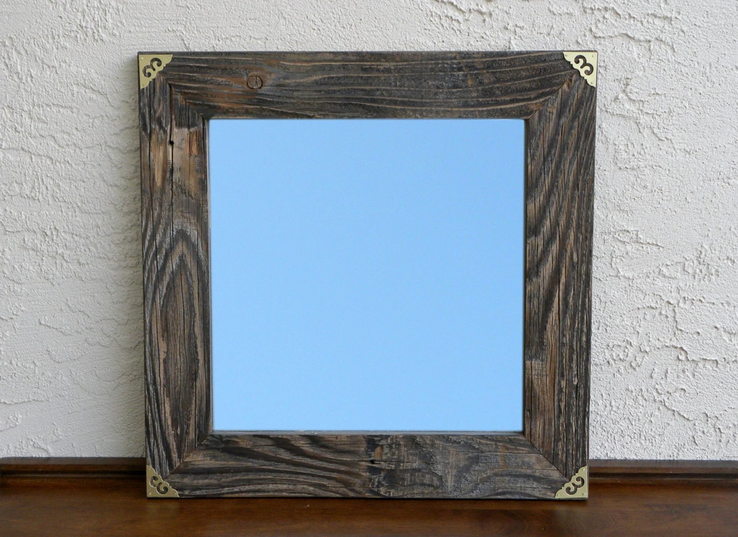 Reclaimed Wood Mirror With Gold Metal Corners. Rustic Home