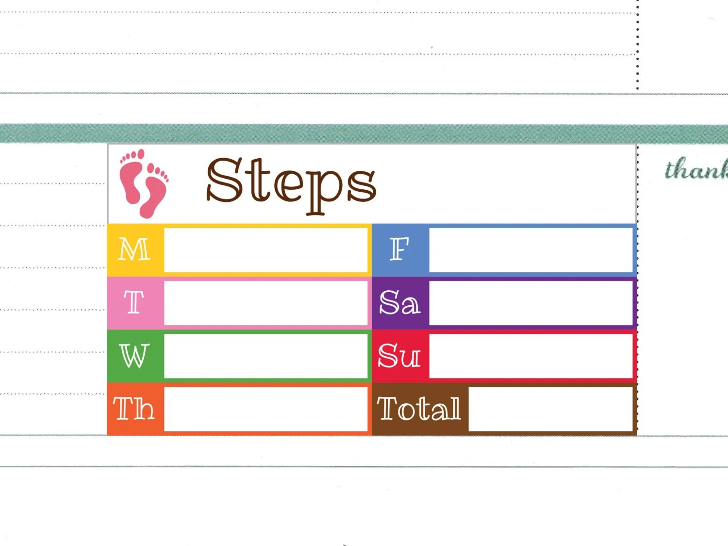 Daily Step Count Stickers For Erin Condren Horizontal