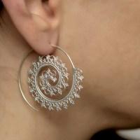 Sterling Silver spiral earrings. boho earrings. boho chic.