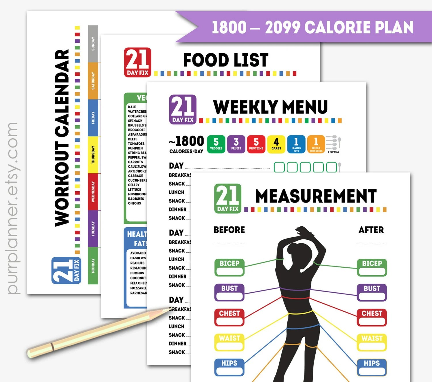 Printable Calorie 21 Day Fix Journalt And By