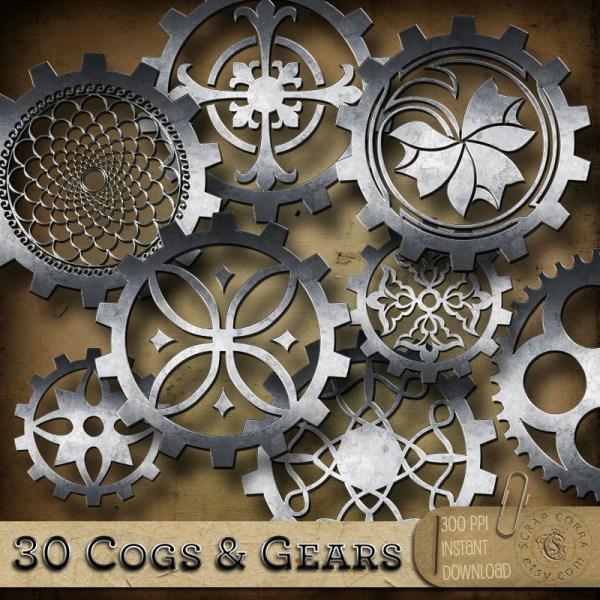 Steampunk Cogs & Gears Digital Clip Art
