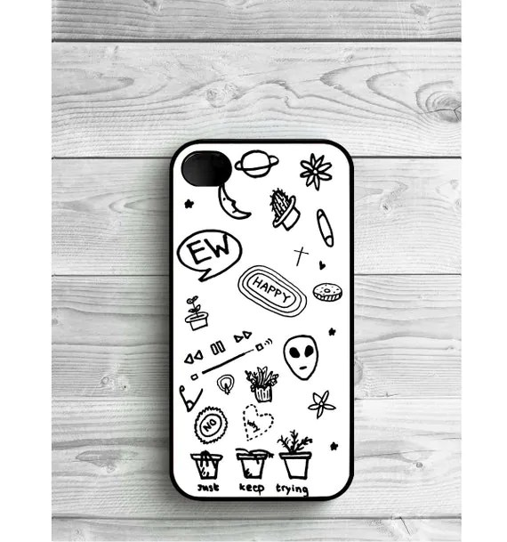 Phone Case Black and White Tumblr drawings doodles For iPhone