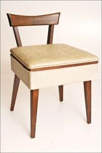 Vtg DANISH MODERN STOOL sewing vanity storage chair mid