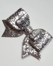 big silver hair bow.silver chunky