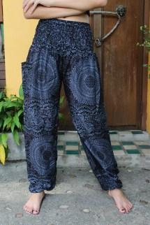 Harem Pants Hippie Boho Flowers Design Blue Navy