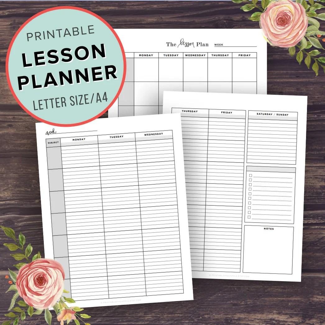 Lesson Planner Teacher Planner Printable School Planner