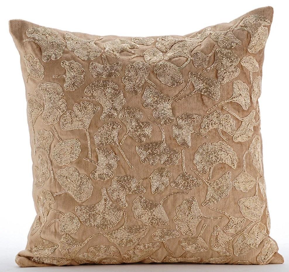Gold Decorative Pillow Cover 16x16 Velvet Pillow