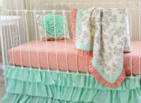 Mint Crib Bedding Bumperless Baby Girl Bedding Set in Mint