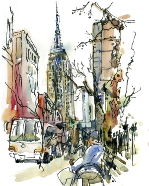 york sketch state watercolor empire sketches building archival aquarell skizze skizzen stadt urban источник gemerkt von