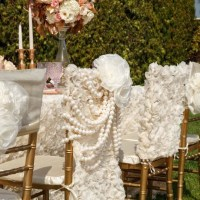 Lovely Ivory Chiffon Chiavari Chair Cover with Pearl Brooch
