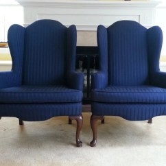 Navy Blue Wingback Chairs Outdoor Bar Height Table And Swivel Pair Of Vintage Ethan Allen
