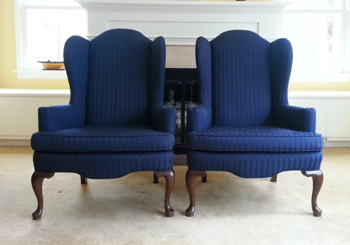 Navy Blue Wingback Chair Pair Of Vintage Ethan Allen Wingback Chairs Navy Blue Wingback