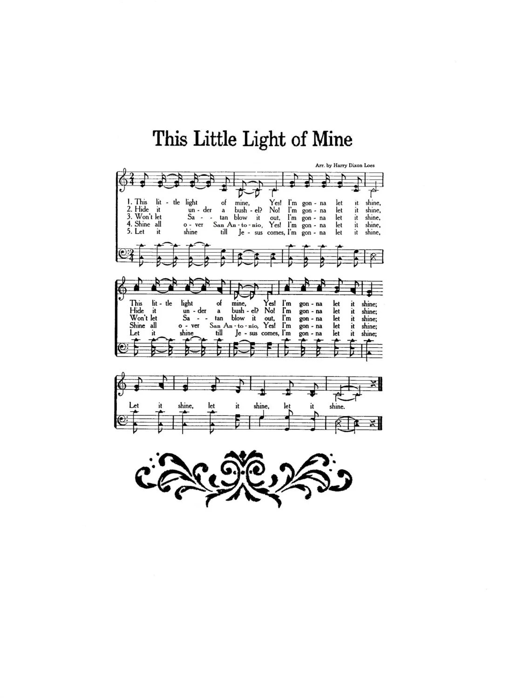 This Little Light of Mine Hymn Digital Sheet Music Home Decor