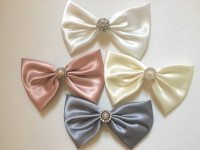 wedding hair bows bridal hair bow satin rhinestone hair ...