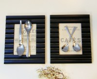 Modern Vintage Silverware Framed Wall Art with Typography