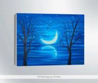 MOON PAINTING Moon wall art Super moon by OilpaintingsChrista