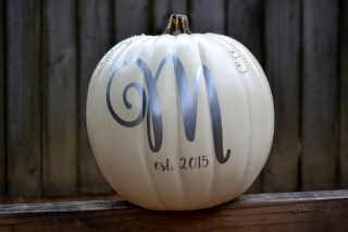 Personalized White and Pearl Monogram Craft Pumpkin
