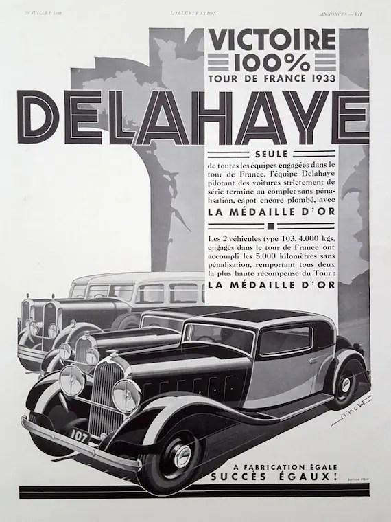 Delahaye Automobiles Race French Car Original Vintage