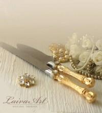 Gold Wedding Cake Server Set & Knife Cake Cutting Set by ...