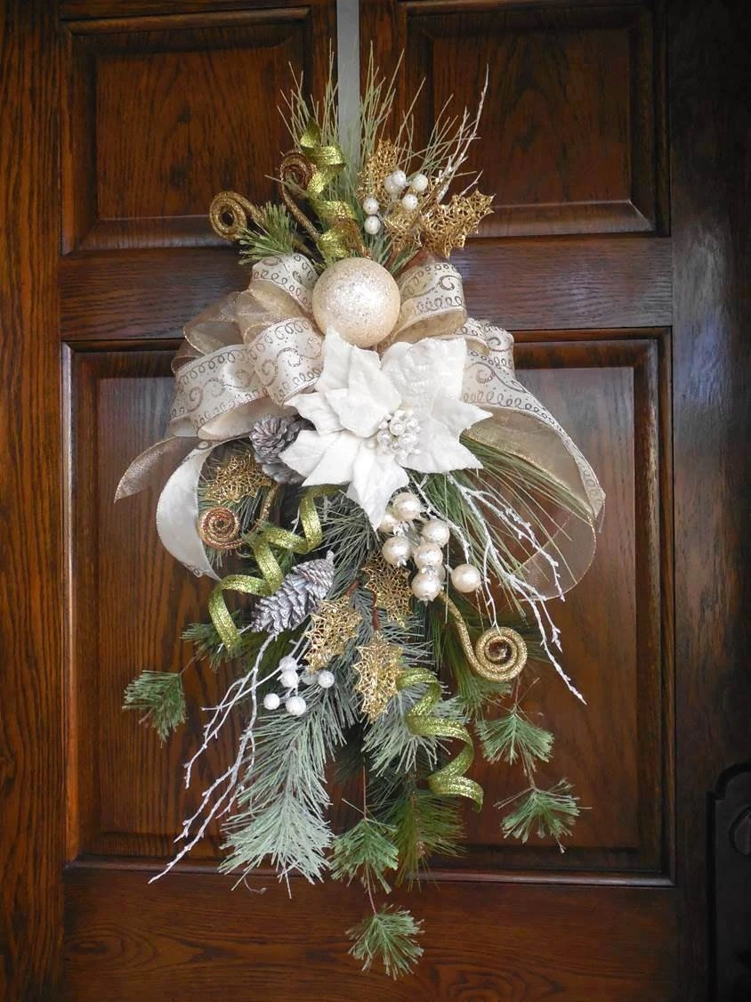 Items similar to Christmas swag Elegant Christmas wreath Poinsettia wreath Door swag