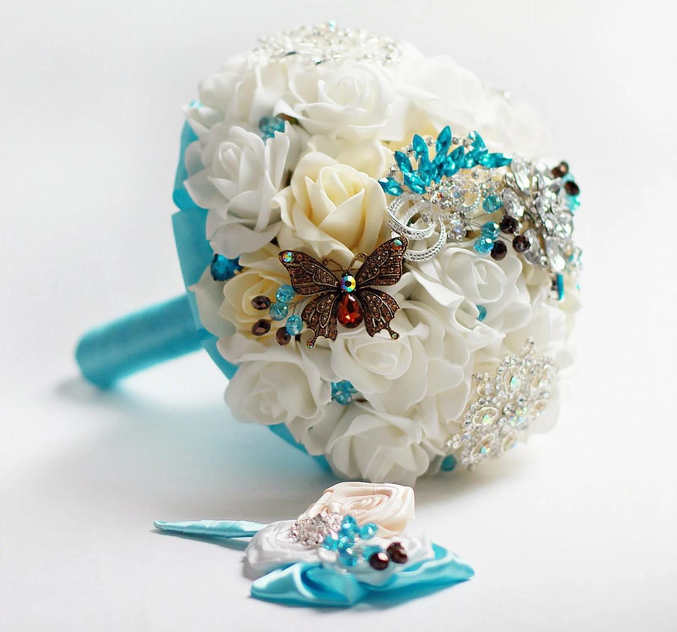 Turquoise Brooch On Wedding Dress