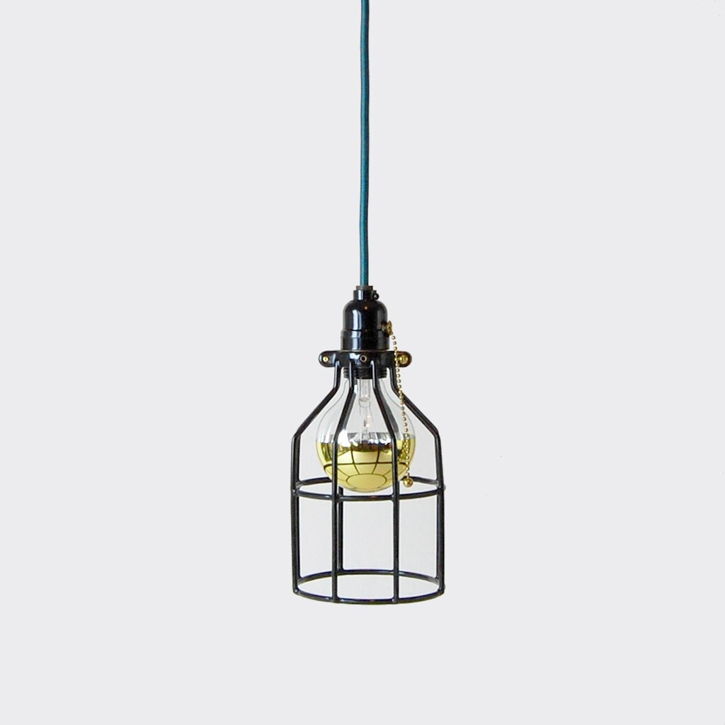 Pendant Light w/ Open Wire Cage Shade Black Pull Chain